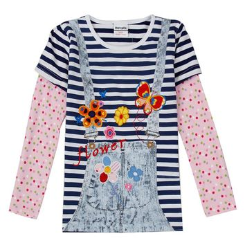 baby fake two pieces girls t shirts nova branded t shirts fall child tshirts stripe toddler shirts long sleeve kids clothes