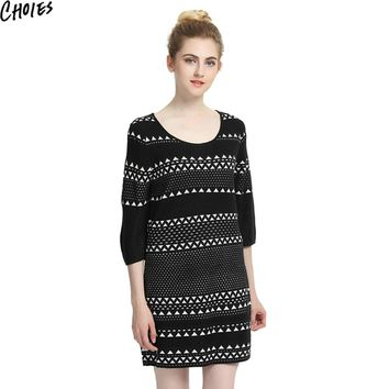 Women Black Contrast Chevron Pattern 3/4 Sleeve Knitted Mini Shift Dress New Autumn Round Neck Elegant Stretchable Knitwear