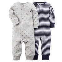 Carter's 2-pk. Mustache & Striped Coveralls - Baby Boy, Size: