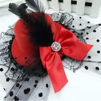 HOT Party Gift Mini Top Hat Feather Bowknot Lace Fascinator Hair Clip Accessory