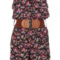 Floral Print Strapless Romper with Frill Top and Tan Belt