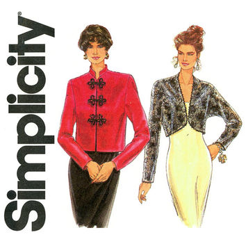 Evening Jackets Pattern Uncut Bust 40 to 44 Simplicity 8760 Bolero Jackets Cardigan Cheongsam Frog Closures Womens Vintage Sewing Patterns