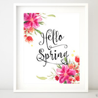 Hello Spring, printable spring decor featuring watercolor flowers