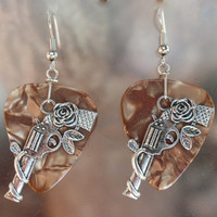 Guns with Roses Earrings, Southwest Guitar Pick Jewelry, Silver Dangling Pistol, Choice 12 Colors, Western Pierced or Clip On Earrings