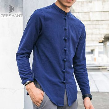 ZEESHANT Men Linen Shirts Long Sleeve Chinese Style Mandarin Collar Traditional Kung Fu Tang Casual Social Shirt Brand Clothing