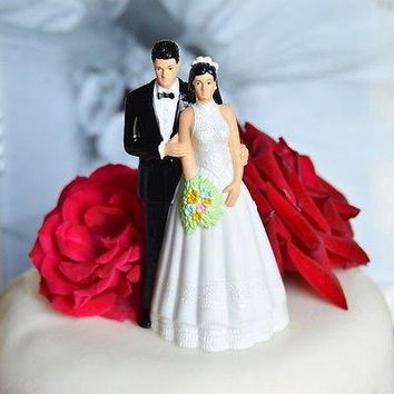 Vintage Bride And Groom Wedding Cake Topper Black Hair