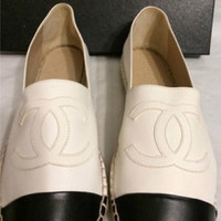 Chanel Leather Espadrilles With Black Cap Toe