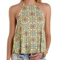 Caged-Back Printed Halter Tank Top by Charlotte Russe