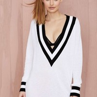 Nasty Gal Club Kid Plunging Sweater Dress