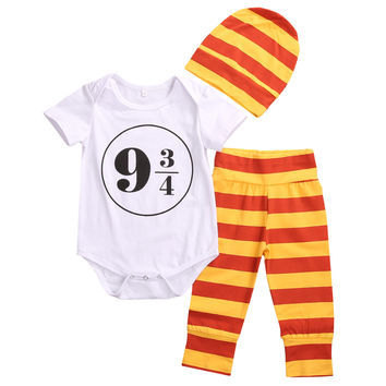 2017 New 3pcs Newborn Baby Girl Boy Clothes Harry Potter Costume Outfits 0-18M Romper Leggings and Hat Toddler Kids Clothing Set