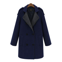 Block Long-Sleeve Hoodie Trench Coat