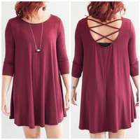 Open Back Swing Dress in Burgundy