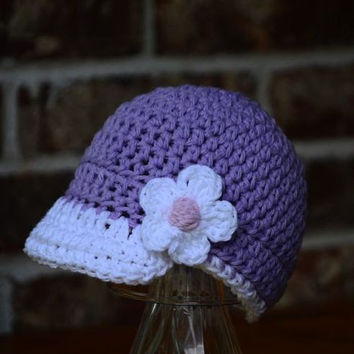 Baseball Cap , Baby girl hat, Baseball Hat ,Crochet Baby Hat , 0 ,3 , 6, 12 months custom team colors