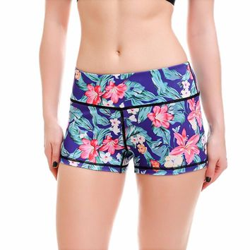 YANQIN Women's Yoga Shorts Quick-drying Printed Sport Fitness Running Elastic Tight Shorts Summer Sports Yoga Clothes for Women