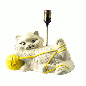 Vintage Chalkware Cat Lamp Cream Cat with Yellow Yarn Ball Original Child's Room Decor Cottage Chic Kitsch Sewing Room Decor