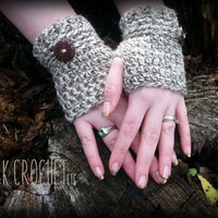 Crochet Wool Fingerless Gloves, Wrist Warmers, Tweed Fingerless Mittens, Steampunk Fingerless Mitts
