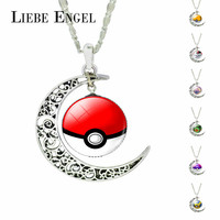 Vintage Jewelry Silver Plated with Glass Cabochon Pokemon with Pokeball Pattern Choker Long Pendant Necklace for Women Party