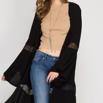 Long Bell Sleeve Cardigan With Lace Details