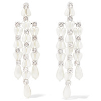 Simone Rocha Faux Pearl Drop Earrings - White Crystal Earrings
