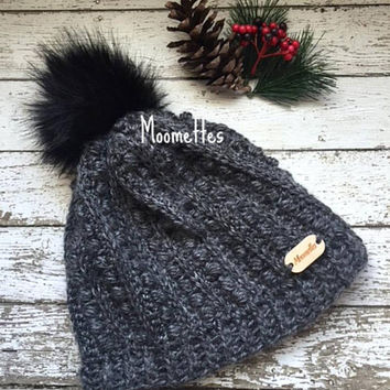 Handmade Crochet Slouchy Beanie Alpaca Gray Grey Puff Stitch Black Faux Fur Pom Pom Hat Wood Button
