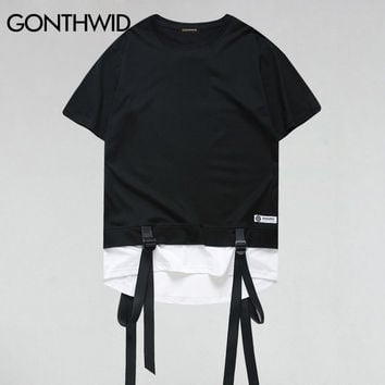Ribbon Patchwork Curved Hem Color Block T-Shirt Men Hip Hop Extended T shirts Fashion Casual Cotton Longline Tees