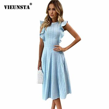 Ruffle Elegant Sundress Sexy Lace Boho Beach Party Dresses Summer O Neck Sleeveless Slim Blue White Women's Dress