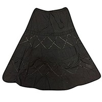 Mogul Womens Bohemian Skirts Black Lacework Flare A-line Boho Hippie Long Skirts