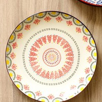 *Hand Painted Red Medallion Plate*