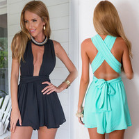Fashion  Solid Color Deep V Sleeveless Backless Crisscross Bandage Romper Jumpsuit Shorts