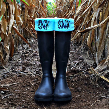 Charles River Monogram Boot Socks | Monogram Boot Socks | Monogram Womens Socks | Monogram Boot Cuffs | Wellington Socks | Wellie Socks