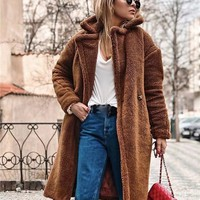 New Women Coat Winter Fluffy Shaggy Faux Long Fur Coats Fashion Thick Warm Lapel Jackets Casual Long Sleeve Outerwear Tops