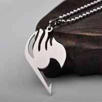 Cool Silver Fairy Tail Necklace Pendant Metal Necklace Natsu Dragneel Tattoo lucy Heartfilia Anime Cosplay chain