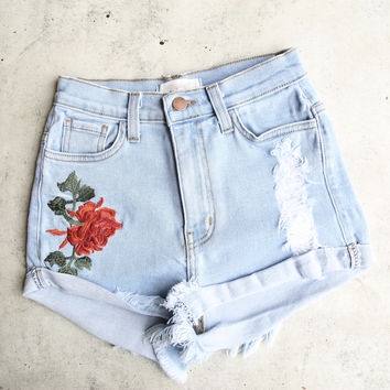 high waisted hot shorts with floral applique - denim