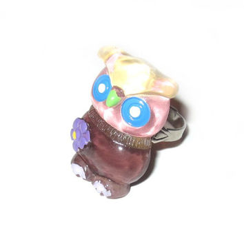 Owl Ring Adjustable Silver Kitschy Kawaii Plastic Owl Jewelry Woodland Lucite Acrylic Novelty Jewelry Costume Jewelry Pink Blue Brown Owl