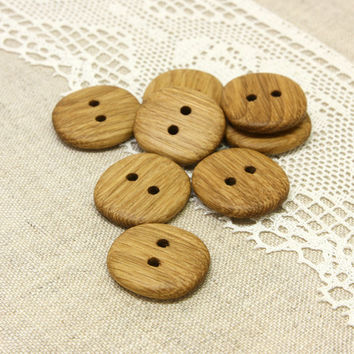 Wood buttons. Set of 8 handmade oak wood buttons size 1 in (25mm) - O5474
