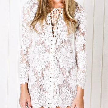 Bandage Deep V-neck Long Sleeve  Mini Pencil Lace Dress