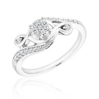 Infinite Love Diamond Cluster Promise Ring 1/5ctw