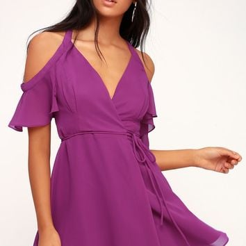 Bombshell Magenta Off-the-Shoulder Wrap Dress