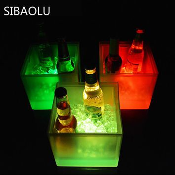 SIBAOLU 3.5L Waterproof Plastic LED Ice Bucket Light Up Champagne Beer Bucket Bars Night Party Color Changing Bars