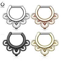 Showlove Flower Petals Septum Clicker 316L Surgical Steel 14g or 16g Nose Ring Titanium Anodized Nose Piercing Free Shipping