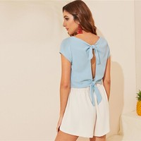 Tie Back Detail Cover Button Front Top Sexy Cap Sleeve Blue Solid Deep V Neck Crop Women Tops and Blouses
