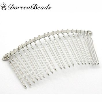 "DoreenBeads 10 PCs dull silver color Comb Shape Hair Clips 7.8cm x 3.8cm (3-1/8""x1-1/2"") (B17122)"