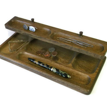 Vintage Man's Vanity, Men's Wood Valet,  Wooden Vanity Tray, Desktop Organizer, Jewelry Storage, Mad Men Decor