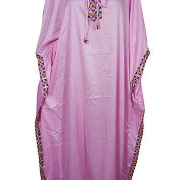 Mogul Womens Caftan Rayon Tie Neck Stylish Kimono Kaftan Evening House Dress