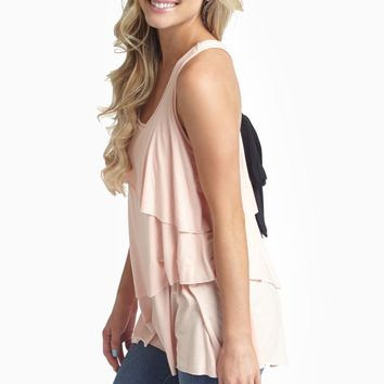 Pink Layered Bow Back Tank Top