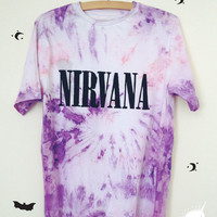 NIRVANA Tie Dye Tshirt hippie grunge kurt cobain pastel pink purple small medium tee soft white handmade hand printed 90s fashion band