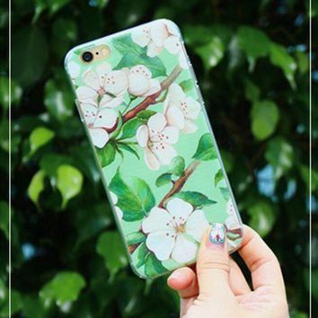 Kalete Hot ! iPhone 7 iPhone 7 plus - Stylish Cute On Sale Hot Deal Matte Couple Phone Case For iphone 6 6s 6plus 6s plus Green flowers