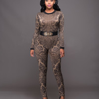 Long Sleeve Printed Contrast Trim Bodycon Jumpsuit