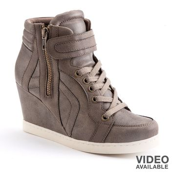 Candie's Beige/Khaki Wedge Sneakers - Women