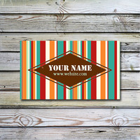 Printable business card design Striped retro business card design Printable Multicolor business card